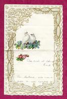 LETTRE GAUFREE/ CANIVET/ DENTELLE Avec CHROMO DECOUPIS COLOMBE Et FLEURS - Old Paper