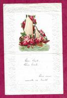 LETTRE De 1930 GAUFREE Avec CHROMO DECOUPIS BATEAU Et FLEURS ROSES - Old Paper