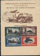 Telecommunications Et Transports  Apareille MORSE,Reparateur,Docker,Avion,Aerodrome,Train  Carte Maximum 1948 - Roumanie - Aéreo