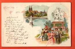 EPB-39 Litho Gruss Aus BAsel, Strassburger Denkmal In Basel Centralbahnplatz,Chocolat Lugano,Gel. 1904,Defekt Oben Links - BS Basle-Town