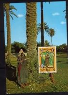 LIBYA LIBIA REPUBLIC GADDAFI ISSUE GHEDDAFI LAR 1975 FOLKLORE LIBYAN COSTUMES WOMAN FOLCLORE MAXIMUM MAXI 15d CARD - Libia