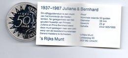 NEDERLAND 50 GULDEN 1987 ZILVER PROOF 50 JAAR JULIANA/BERNHARD IN ORIGINELE VERPAKKING - [ 3] 1815-… : Royaume Des Pays-Bas