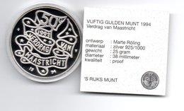 NEDERLAND 50 GULDEN 1994 ZILVER PROOF VERDRAG VAN MAASTRICHT IN ORIGINELE VERPAKKING - [ 3] 1815-… : Royaume Des Pays-Bas