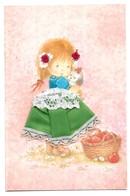 Carte Brodée Petite Fille Avec Un Chien Dans Ses Bras Et Panier Illustrateur Coni Les Editions Vacances 22190 Plerin - Brodées