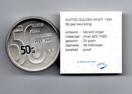 NEDERLAND 50 GULDEN 1995 ZILVER PROOF 50 JAAR BEVRIJDING IN ORIGINELE VERPAKKING - [ 3] 1815-… : Royaume Des Pays-Bas