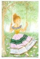 Carte Brodée Jeune Fille Sur Une Balançoire Illustrateur Coni Les Editions Vacances 22190 Plerin - Brodées