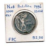 NEDERLANDSE ANTILLEN 25 GULDEN 1995 ZILVER UNC 100 JR. OLYMPISCHE SPELEN OPL. 1000 STUKS - Antille Olandesi