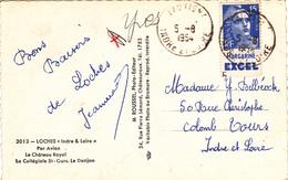 TIMBRE 15 FRANCS BLEU Marianne De GANDON Avec PUB Margarine Excel En 1954 Sur Carte Postale Loches Cachet Tauxigny (37) - Publicités