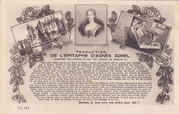 CPA AGNES SOREL (Epitaphe) Née En 1422 à Yzeures Sur Creuse Morte à Le Mesnil-sous-Jumièges En 1450 - Favorite Charles 7 - Personnages Historiques