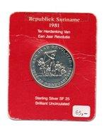 SURINAME REPUBLIEK 25 GULDEN 1981 ZILVER BRILLIANT UNC. 1 JAAR REVOLUTIE - Surinam 1975 - ...