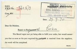 LONDON : HOUNSLOW - SOUTHERN ELECTRICTY, 1970 / ADDRESS - HESTON - COOKER REPAIR / POSTAL SLOGAN - RADIATORS - London Suburbs