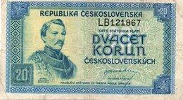 Bohemia & Moravia 20 Korun 1944 XF Banknote - Czechoslovakia