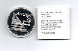 ARUBA 25 FLORIN 1991 ZILVER PROOF 5 JAAR STATUS APARTE - Monnaies