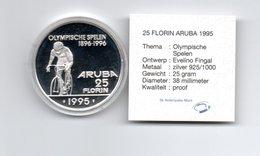 ARUBA 25 FLORIN 1995 ZILVER PROOF OLYMPISCHE SPELEN  ATLANTA - ZONDER OLYMPISCHE RINGEN SCHAARS - Monnaies