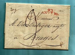 """Brief Met Inhoud 22/01/1805, Griffe 93 / ANVERS (33x9,5 Mm - Herlant 21) - Gewicht : """"20"""" Gram - Port : 9 - 1794-1814 (Französische Besatzung)"""