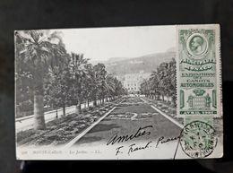 2 CPA MONTE CARLO AVEC TIMBRE EXPOSITION CANOTS AUTOMOBILES AVRIL 1907 MONACO TIMBRES EXPO VOITURE AUTO CAR POSTCARD - Monte-Carlo