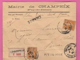 Lettre Chargé 1918 Type Semeuse 30C - Mairie De Champeix (Puy De Dôme) - 1877-1920: Periodo Semi Moderno