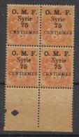 Syrie - 1920 - N°Yv. 47 - Type Blanc 75c Sur 3c - Bloc De 4 - VARIETE Lettres Pleines - Neuf Luxe ** / MNH / Postfrisch - Syrie (1919-1945)