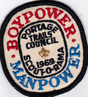 SCOUT-O-RAMA 1969 , Portage Trails Council; BOYPOWER/MANPOWER Patch - Scouting