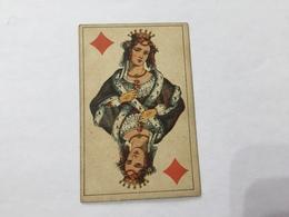 ANTICA VECCHIA CARTA DA GIOCO POKER REGINA DI QUADRI. - Other Collections