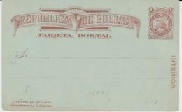 BOLIVIA TRAJETA POSTAL NEW 1887 - Bolivie