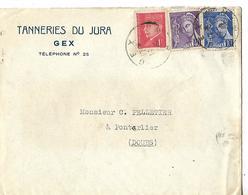 Enveloppe Commerciale  / 39 GEX / Tanneries Du Jura / 25 PONTARLIER C. Pelletier - France