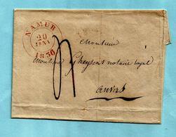 Brief Zonder Inhoud,  Afst. NAMUR 20/01/1836 (Herlant 63) Naar ANVERS 21/01/1836 - 1830-1849 (Unabhängiges Belgien)