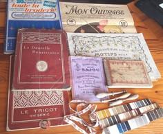 7 ALBUMS + Objets De Couture - MON OUVRAGE, D.M.C.,SAJOU, FUSEAUX, 7 PLAQUES ECHANTILLONS DE FILS DE SOIE - Creative Hobbies