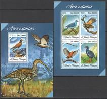 ST1708 2013 S. TOME E PRINCIPE FAUNA EXTINCT BIRDS AVES EXTINTAS KB+BL MNH - Vögel