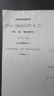Brasserie Oscar BASCOURT Rue De Baudour, GHLIN, 11 Aout 1883 - Belgique