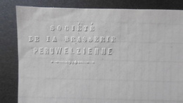 Brasserie Peruwelzienne, Peruwelz 24 Aout 1883. Signé - Belgique
