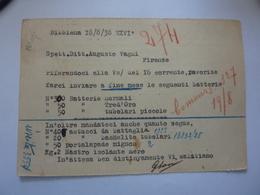 """Cartolina Postale Viaggiata """"SASSI GILFREDO - Impianti E Forniture Elettriche BIBBIENA"""" 1938 - Storia Postale"""