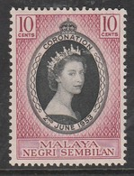 Malaysia Malaya (Negeri Sembilan) 1953 Coronation Of Queen Elizabeth II 10 C Purple/black SW 66 Mint Hinged - Perlis
