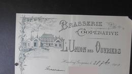 Brasserie LUNION Des OUVRIERS Houdeng Gougnies 28-09-1901 - Belgique