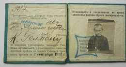 Y 1913 Imperial RUSSIA / LATVIA / RIGA   City Train - Tram Season Ticket For Pupil - Week-en Maandabonnementen