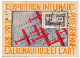 FRANCE - 2 Cartes - 1ere Exposition Internationale De Poste Aérienne PARIS 1930 Affranchies PA N°6 - Poste Aérienne