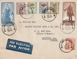 Lettre Avec TP 419/ 814/ 815/ 816/ 817/ 820/ 822  D'Anvers à Montréal 1949 - Lettres & Documents