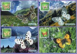 Kazakhstan 1996. Butterflies. Fauna. Insects.  Maxicard.  Maximum Cards - Papillons