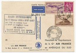 FRANCE - Carte Air France 1er Vol Sans Escale FRANCE AMERIQUE DU SUD - Raid Interrompu 17 Février 1935 - Luftpost