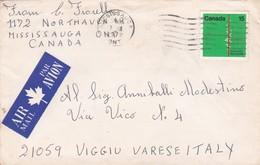 BUSTA VIAGGIATA AIR MAIL - CANADA - MONTREAL - VIAGGIATA PER VIGGIU' -  VARESE (ITALY ) - 1952-.... Règne D'Elizabeth II