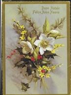 BUON NATALE E FELICE ANNO NUOVO - FIORI - EDIZ. KARTOS - VIAGGIATA DA VOLTERRA 1987 - Natale
