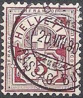 Schweiz Suisse 1882: Faser-papier Melée Zu 60A Mi 52X Yv 65 - 5c Lila Mit O BERN 20.VIII.90  (Zu CHF 2.00) - Gebraucht