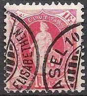1902: 13 Dents Vertikal-zähne KZ II  Zu 75D Mi 70C Yv ?? - 1 Fr Karmin Mit O BASEL 10 ELISABETHEN (Zu CHF 13.00) - Gebraucht