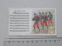 """CHROMO Chocolat SUCHARD: """"La Patrouille"""" CHANSON MILITAIRE Série 146 (N°2) - Partition Musique Militaria Soldat - Suchard"""