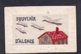 Carte Brodee Souvenir D' Alsace Toit Maison Cigognes Cigogne - Brodées