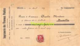RECU 1909 IMPRIMERIE DES TRAVAUX PUBLICS - 1905 Grove Baard