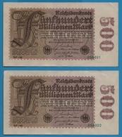 DEUTSCHES REICH 2x 500 Millionen Mark  01.09.1923# NF-40  254301+302    P# 110d - [ 3] 1918-1933: Weimarrepubliek