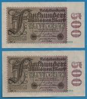 DEUTSCHES REICH 2x 500 Millionen Mark  01.09.1923# NF-4  034968+969    P# 110f - [ 3] 1918-1933: Weimarrepubliek
