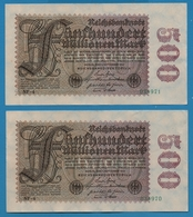 DEUTSCHES REICH 2x 500 Millionen Mark  01.09.1923# NF-4  034970+971    P# 110f - [ 3] 1918-1933: Weimarrepubliek