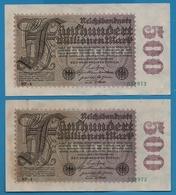 DEUTSCHES REICH 2x 500 Millionen Mark  01.09.1923# NF-4  034972+973    P# 110f - [ 3] 1918-1933: Weimarrepubliek